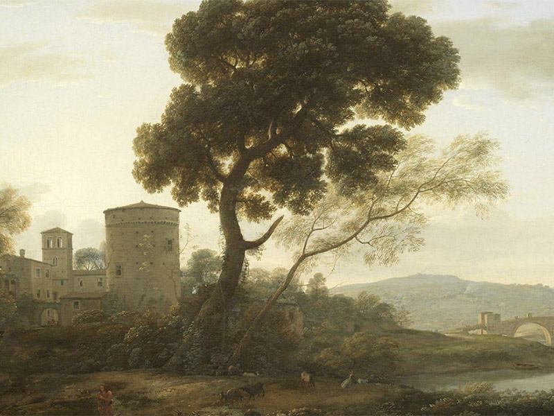 An illustration of a tree, a castle, and a bridge