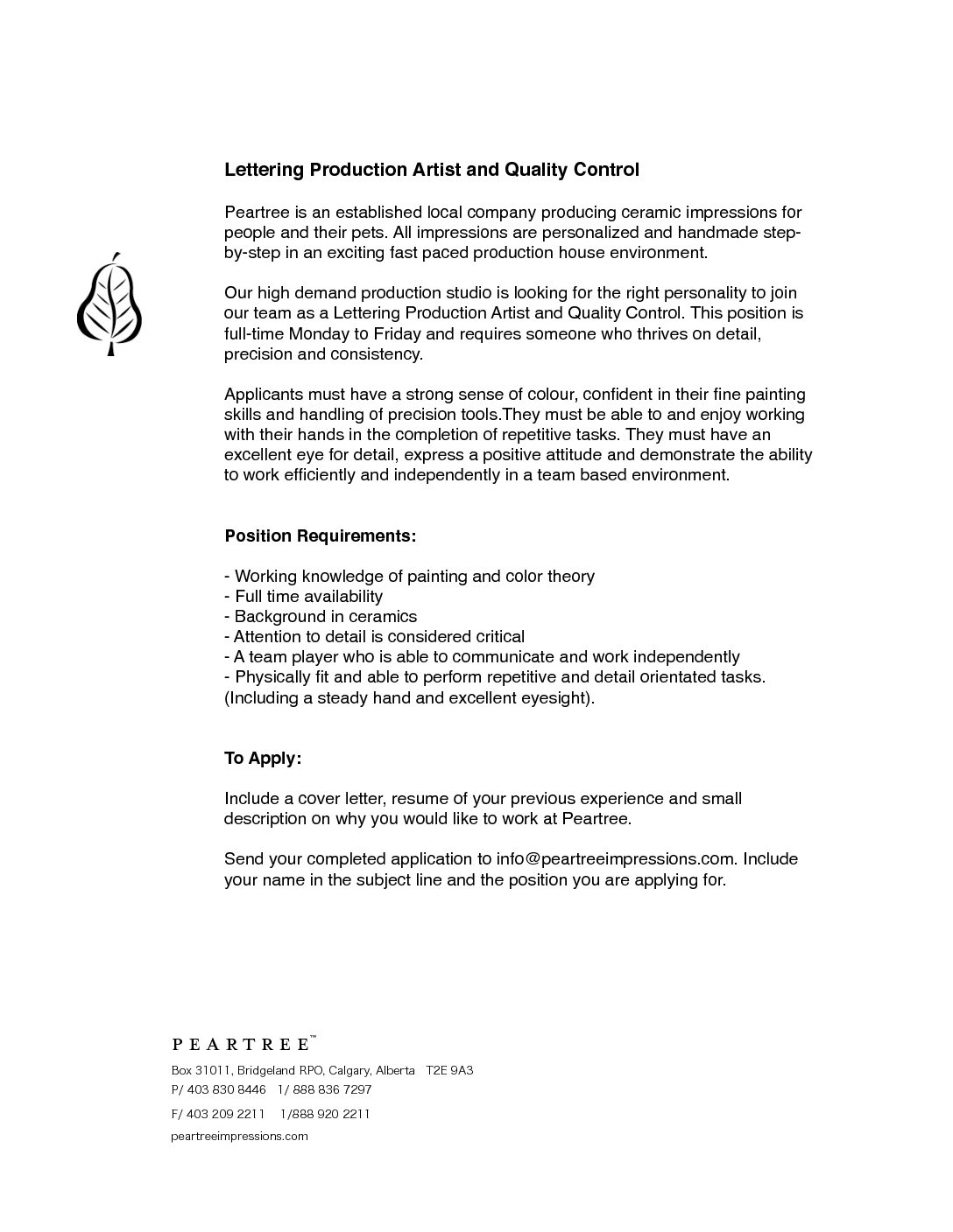 Lettering Production Artist And Quality Control PDF