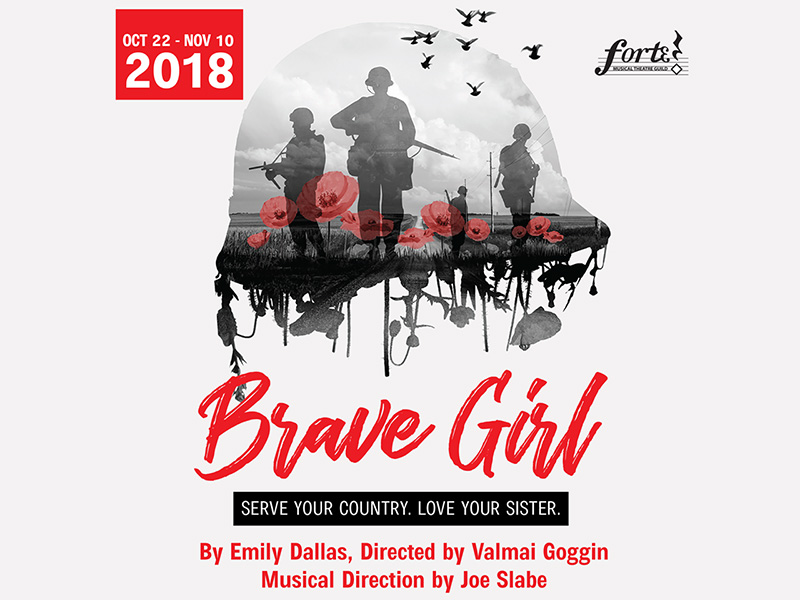 Poster for Lunchbox Theatre and Forte Musical Theatre Guild's production of Brave Girl
