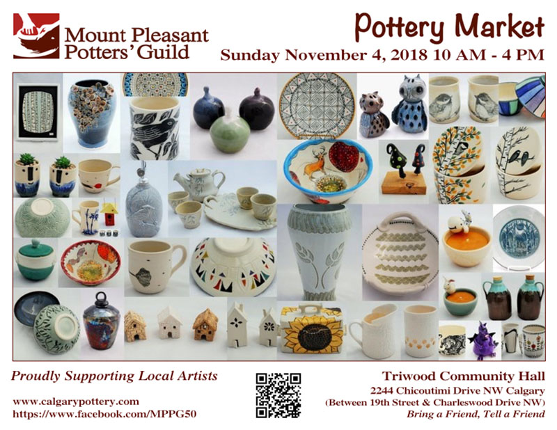 Poster for the Mount Pleasant Potters' Guild Fall Pottery Market