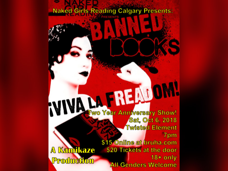 A poster for Naked Girls Reading Presents: Banned Books