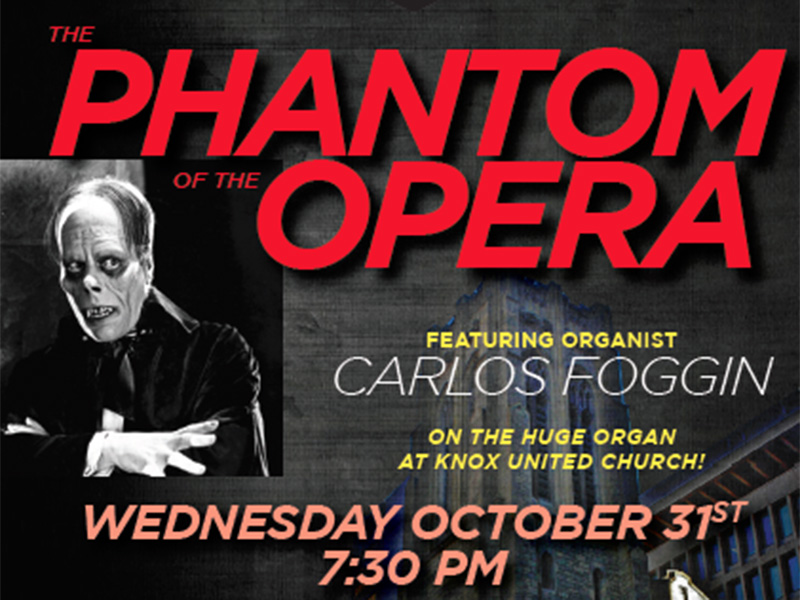 A poster for Royal Canadian College of Organists Calgary Centre's screening of Phantom of the Opera