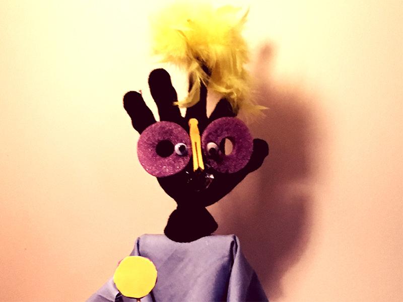 A puppet made of a glove
