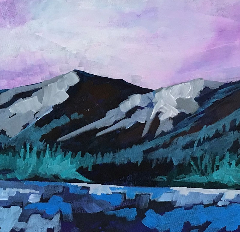 A painting of a mountian with purple skies