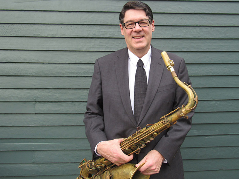 A photo of Gordon Towell with his saxophone