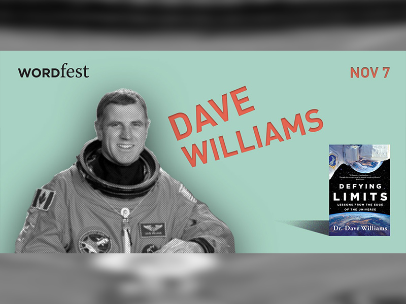 A promotional graphic for Wordfest presents Dave Williams