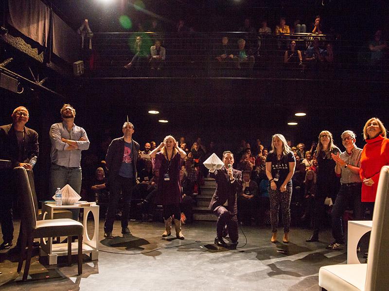 Authors on the Big Secret Theatre stage