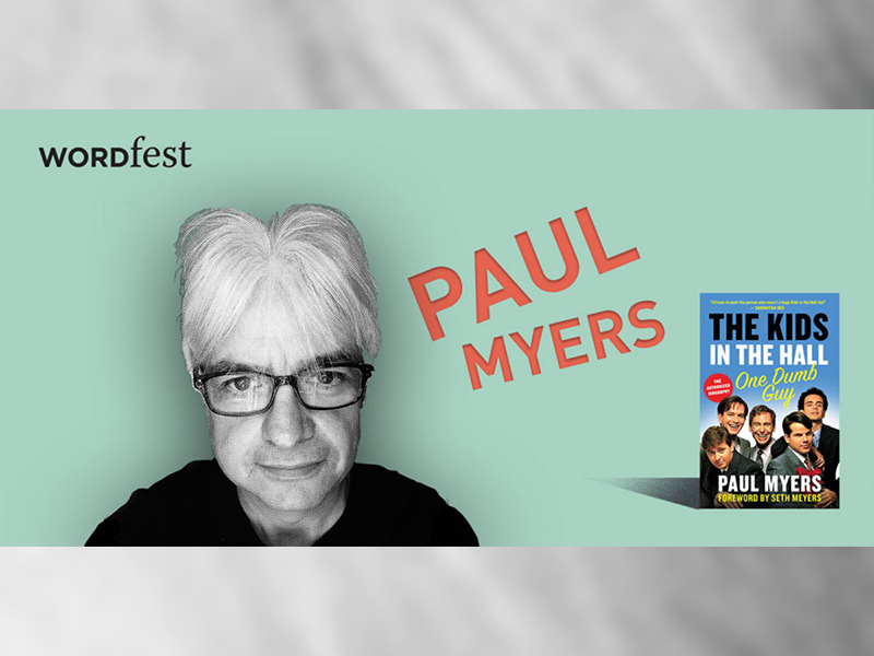 A promotional image for Wordfest presents Paul Myers