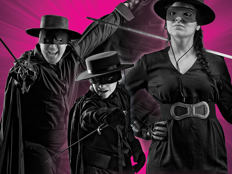 A promo image from Alberta Theatre Project's production of Zorro: Family Code