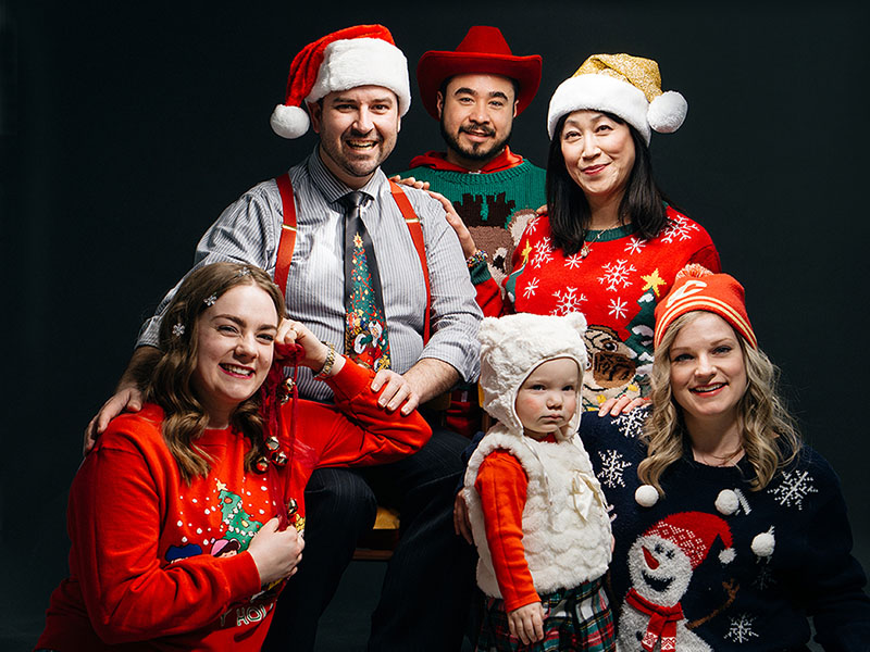 An image of the Cowtown family wearing their seasonal best