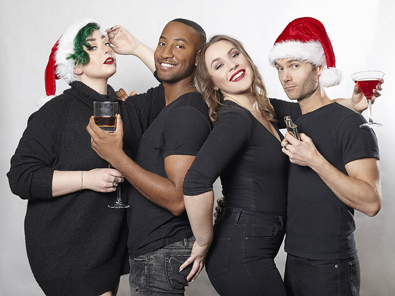 A promo photo of the cast from Naughty…but Nice! The Big V