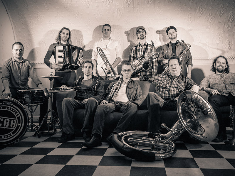 A promo photo for the Dirty Catfish Brass Band