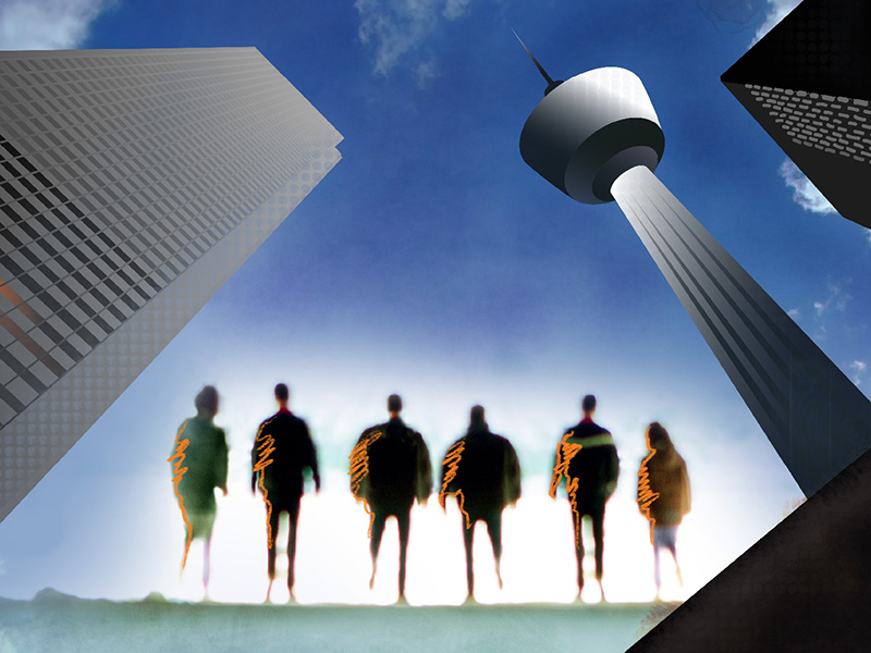 An illustration of people standing under the Calgary Tower and tall dowtown buildings