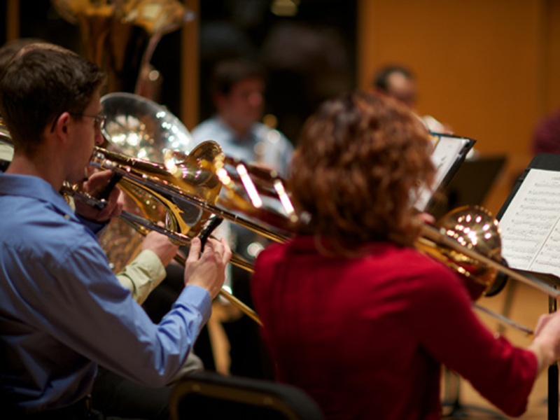 A photo of the University of Calgary's hamber Music Program's Brass & Percussion Ensemble
