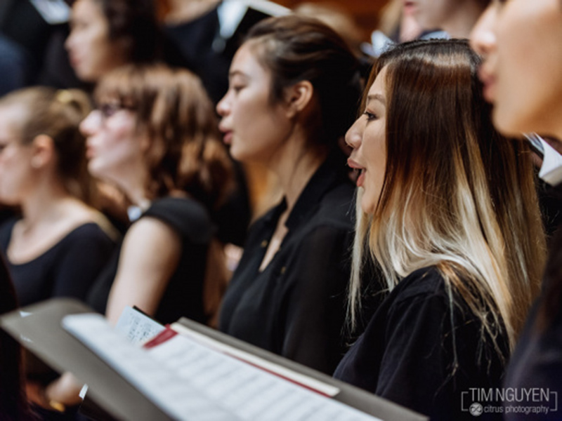 Members of the University of Calgary's Chamber Choir rehearse