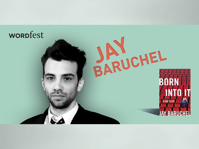 A promotional image for Wordfest presents Jay Baruchel