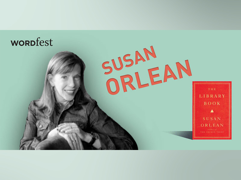 A promo image for Wordfest Presents Susan Orlean