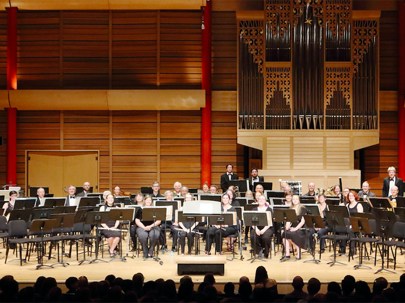 A photo of the Foothills Concert Band performing