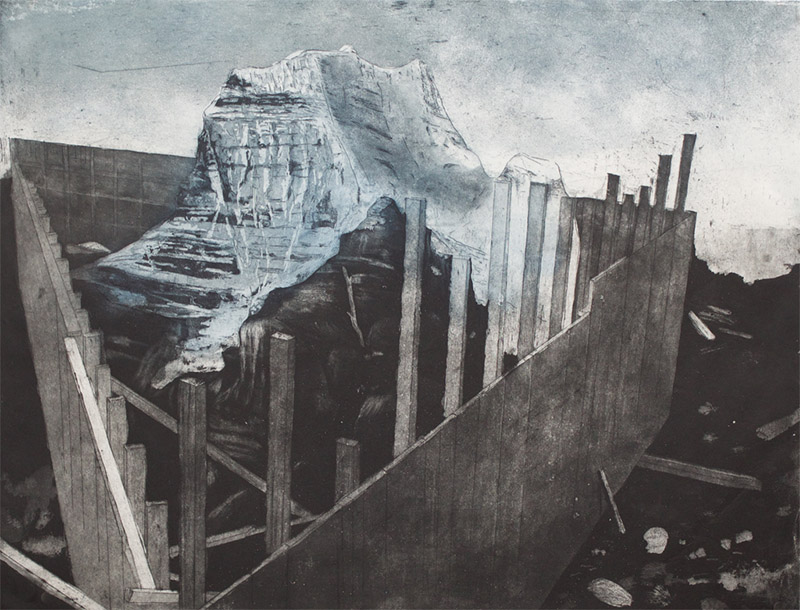 A print showing a bulwark around Mount Robson