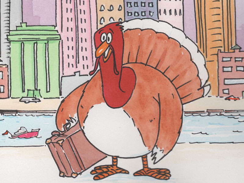 A cartoonish Tom Turkey holds a suitcase on a city street