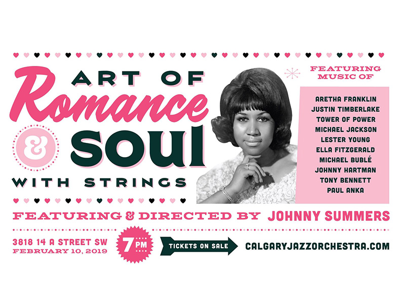 A poster for Calgary Jazz Orchestra's The Art of Romance, Art of Soul