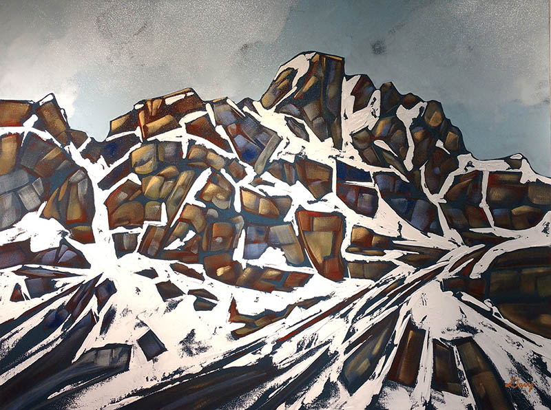 An abstract painting of a mountian