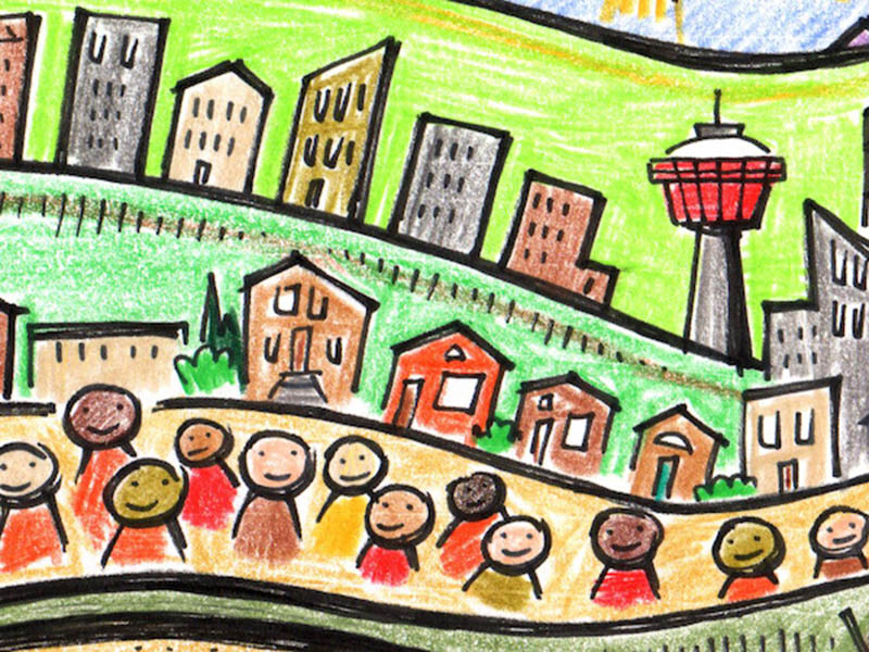 A drawing of the city of Calgary skyline with people and houses