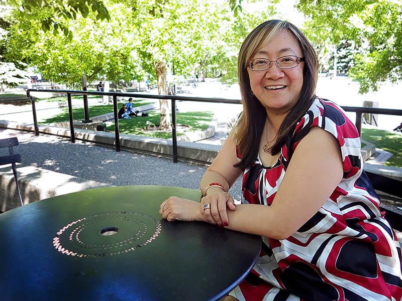 Calgary Arts Development's President & CEO Patti Pon in Olympic Plaza