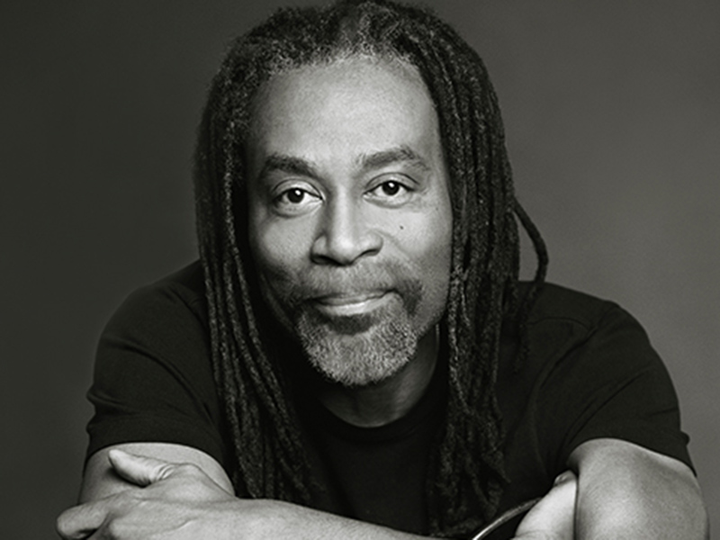 A black and white promotional photo of Bobby McFerrin