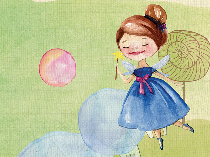 An illustration of a fairy and lollipops