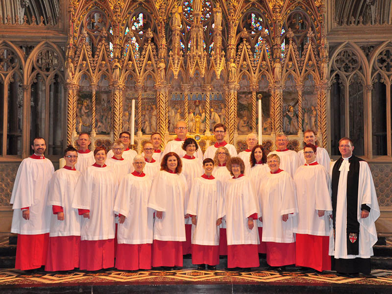 A photo of the Choir of the Cathedral Church of the Redeemer dressed to perform
