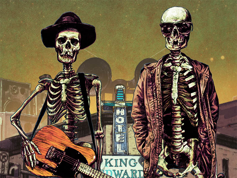 A graphic of two skeletons in front of the King Edward Hotel neon sign