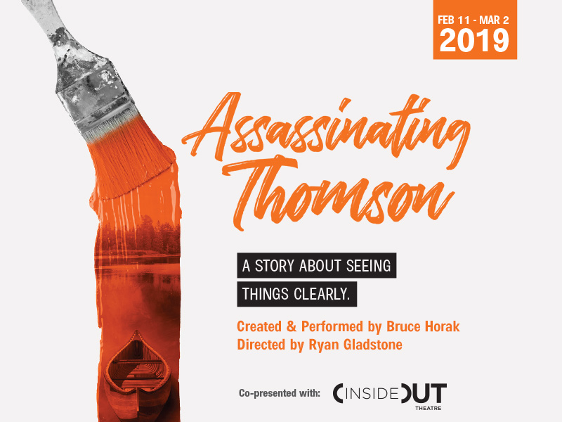 A poster for Lunchbox Theatre's production of Assassinating Thomson