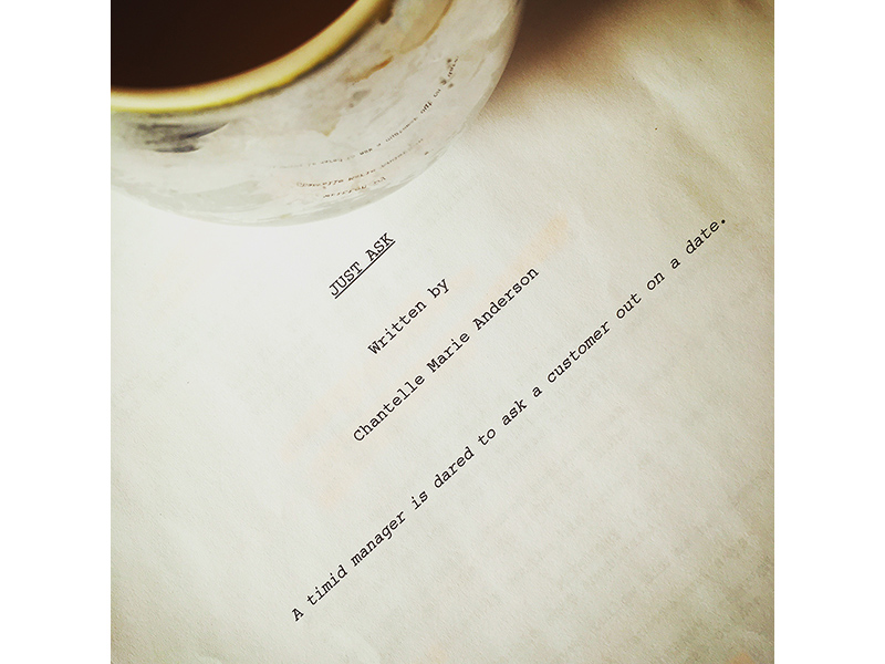 A photo of a coffee cup sitting on a script of Just Ask