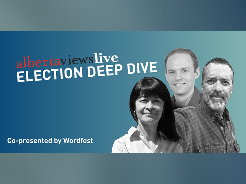 A poster for Alberta Views Live: Election Deep Dive, co-presented by Wordfest