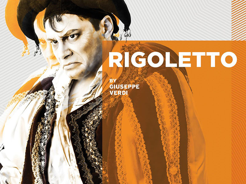 A poster for Calgary Opera's Rigoletto