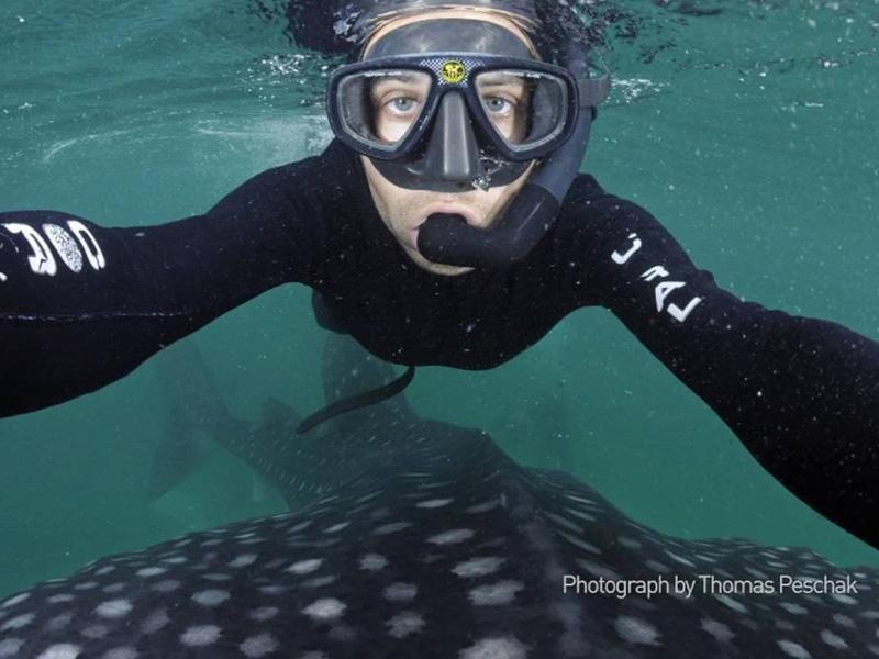 An underwater selfie from marine biologist and photographer Thomas Peschak