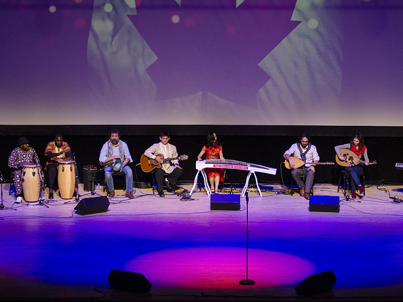 Individual musicians on stage during Our Canada, Our Story
