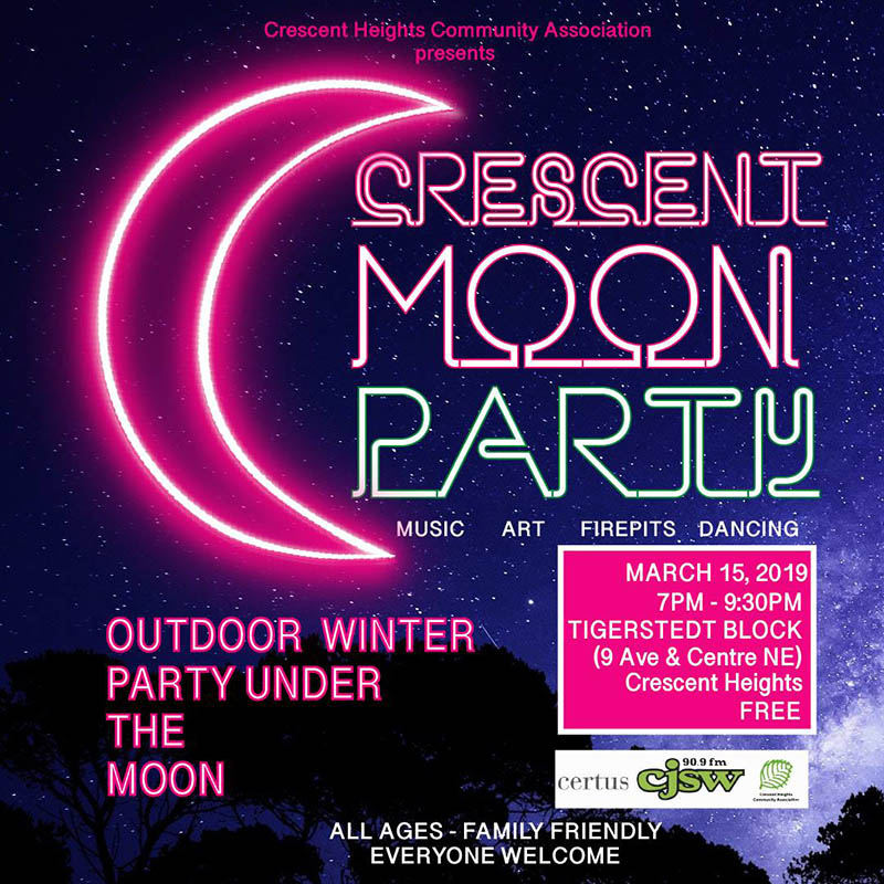 A poster for the Crescent Heights Community Associations' Crescent Moon Party