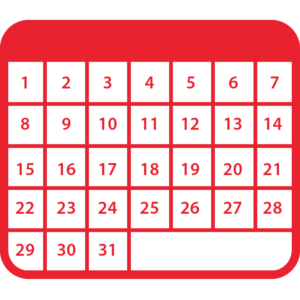 A graphic of a calendar with 31 days