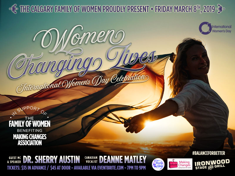 A graphic promoting Women Changing Lives, in support of Family of Women and benefiting Making Changes Association