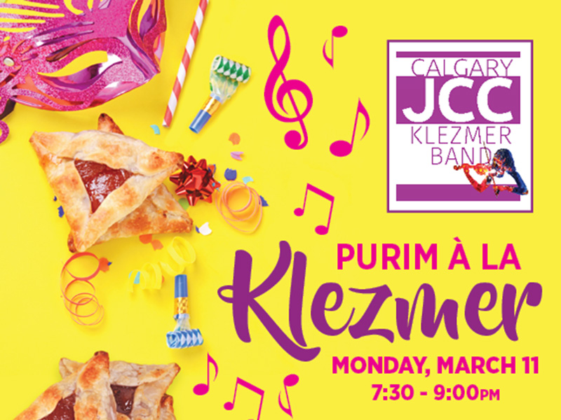 A poster for Purim à la Klezmer at the Calgary JCC