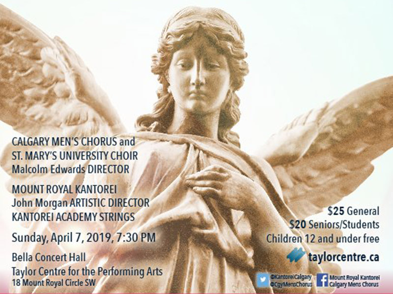 A poster for Fauré: Requiem featuring the Calgary Men's Chorus, Mount Royal Kantorei, and St. Mary's University Choir