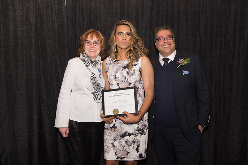 Vivek Shraya with Mayor Naheed Nenshi and ATB Financial's Sandra Huculak