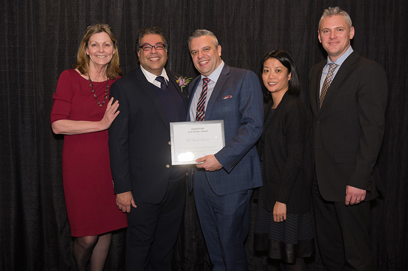 JP Thibodeau with Mayor Naheed Nenshi and representatives from SANDSTONE