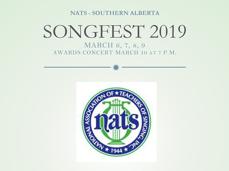 A poster for the Southern Alberta chapter of the National Association of Teachers of Singing's Songfest awards concert