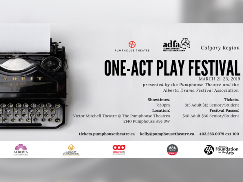 A poster for 2019's Calgary Region One Act Play Festival at the Pumphouse Theatres