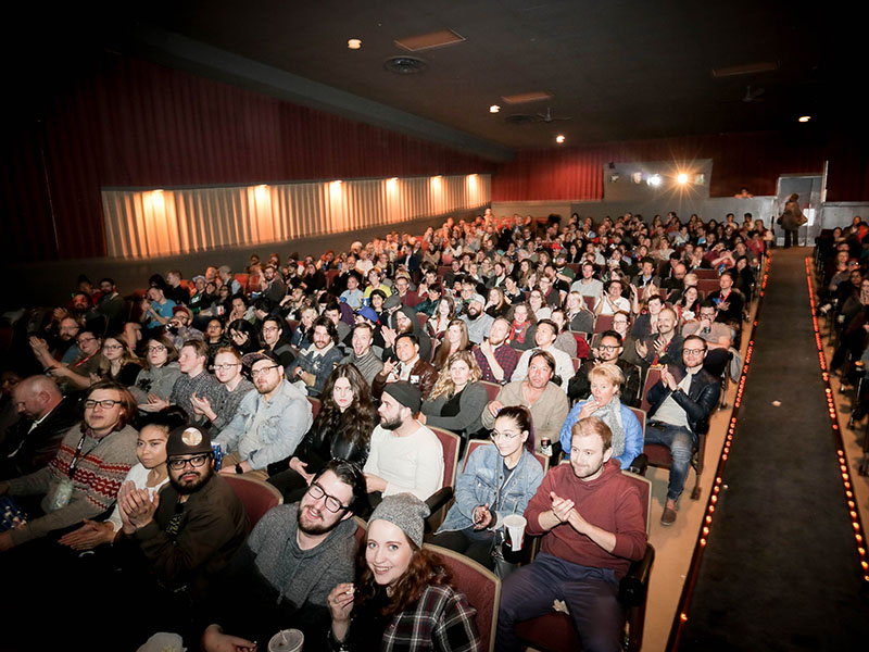 The audience fills a theatre at the Calgary Underground Film Festival