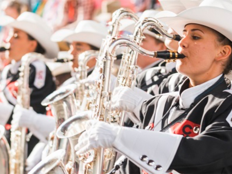Members of the Calgary Marching Show Band perform
