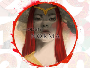 A graphic for Calgary Opera's prodcution of Norma